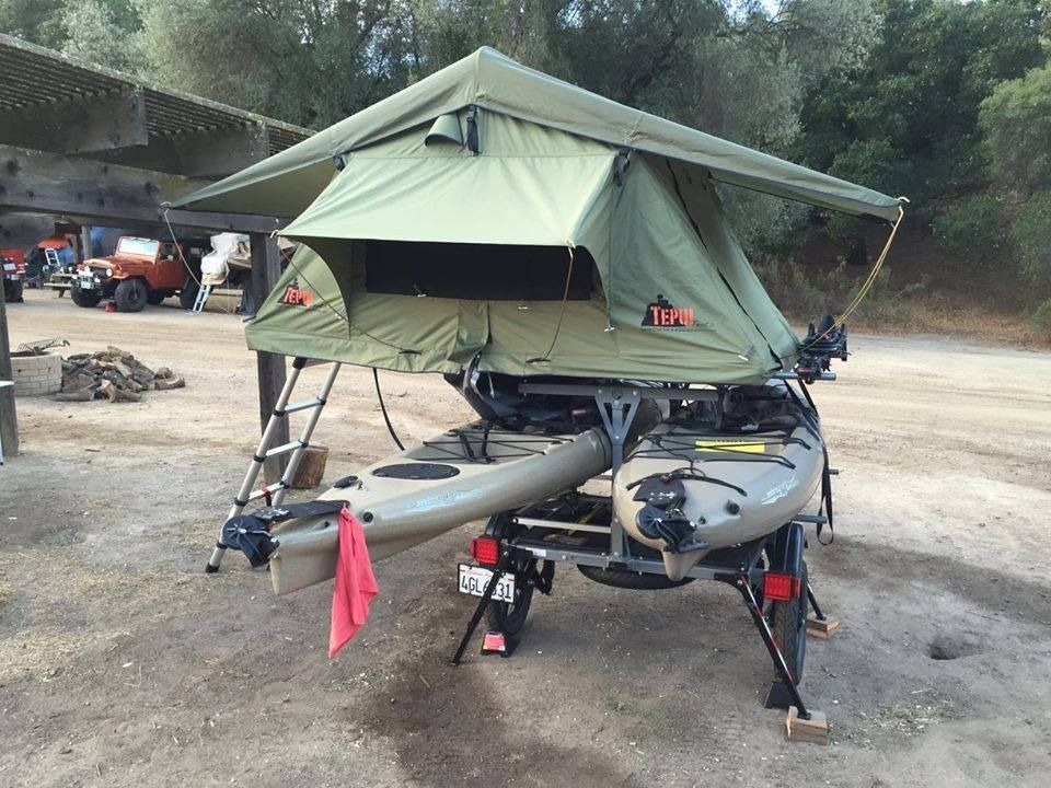 Tent Top It Get Out Of The Dirt Roof Top Tent From Top Tent Roof Top Tent Top Tents Kayak Trailer