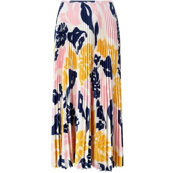 Cédric Charlier Pink Accordian Pleat Midi Skirt (£214) ❤ liked on Polyvore featuring skirts, pink pleated skirt, colorful skirts, pleated midi skirt, pink midi skirt and accordion pleated skirt
