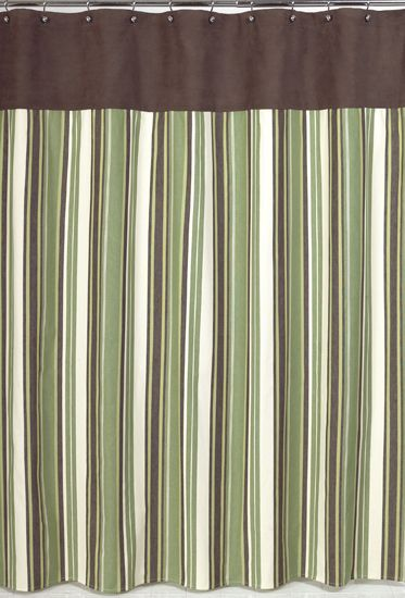 Ethan Cream Green And Brown Kids Fabric Shower Curtain By Sweet