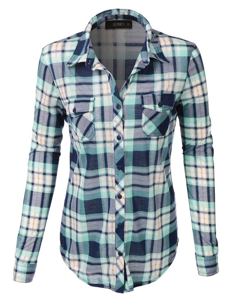 dda2115af5a1a LE3NO Womens Lightweight Plaid Button Down Shirt with Roll Up Sleeves