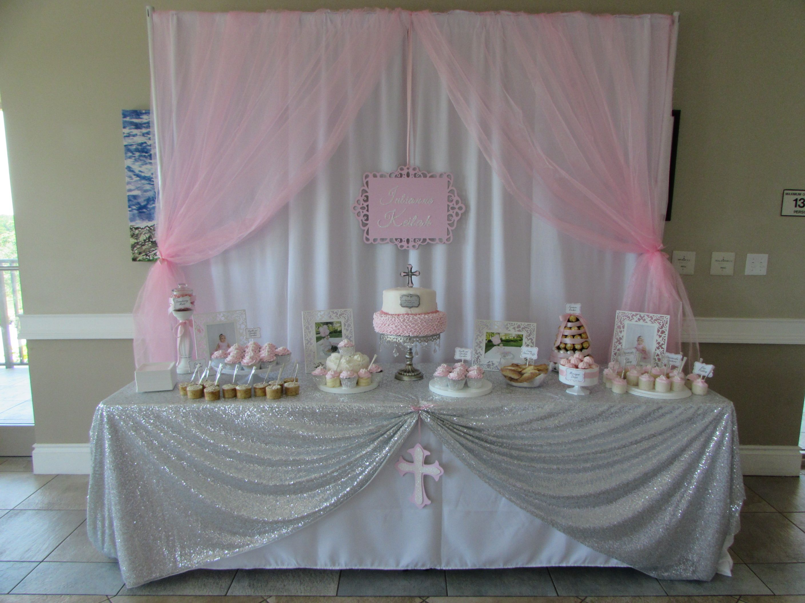 Cake Table Decoration For Christening : Baby Girl Pink Baptism dessert table cake table DIY ...