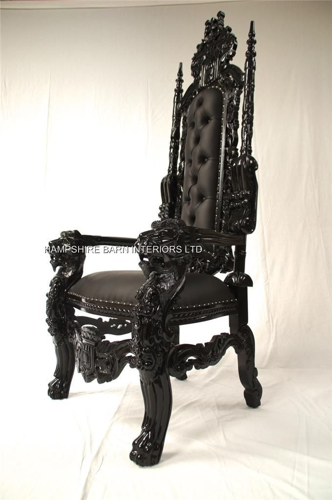 black gothic throne chair couch and chairs goth lion sexy faux leather with silver