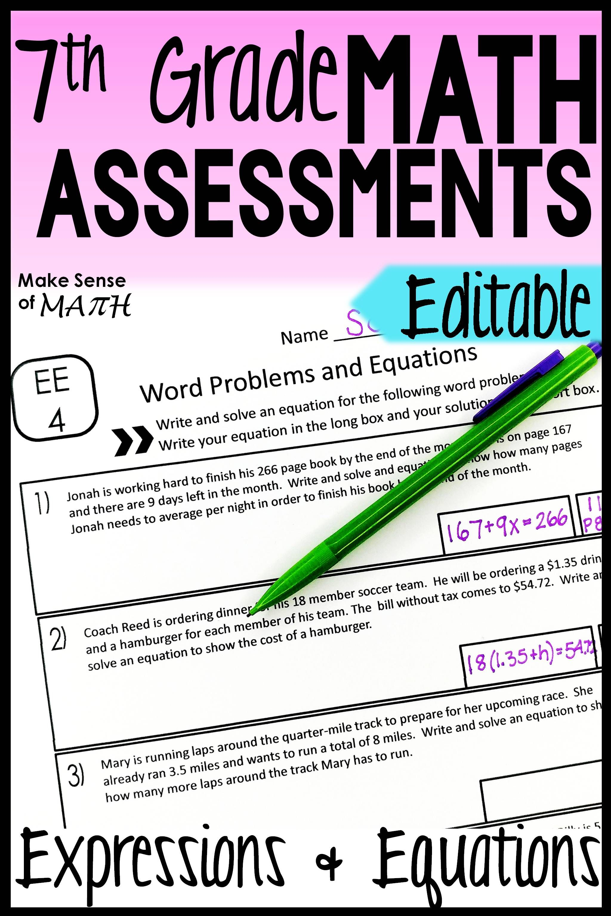 7th Grade Expressions And Equations Assessments Common
