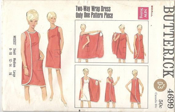 Butterick 4699 1960s Misses 3 Armhole Wrap Dress Pattern Womens Vintage Sewing Pattern Size Small Bust 31 32 or Large Bust 38 #wickelkleidmuster