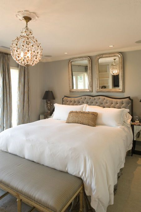 Warm Grey Wall Colors And Luxury White Beds In Traditional Bedroom