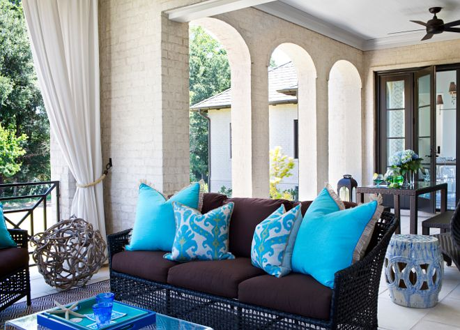Porchback Porchthe Back Porch Features Offwhite Brick Walls Stunning Brown And Turquoise Living Room Design Decoration