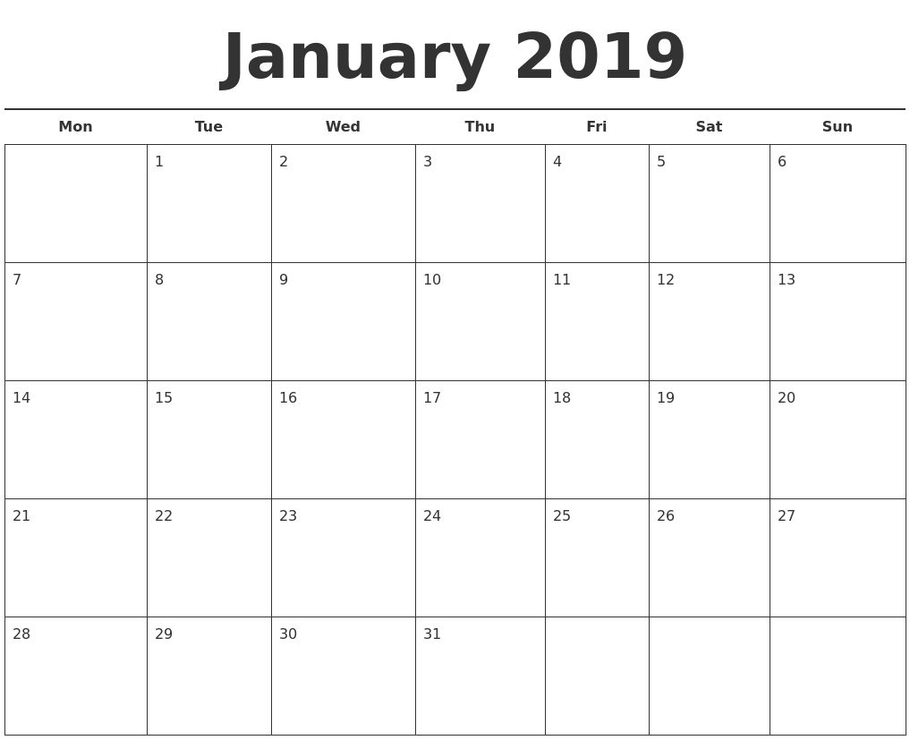 2019 Calendar Template Printable Month Calendarjanuary 2019 Calendar