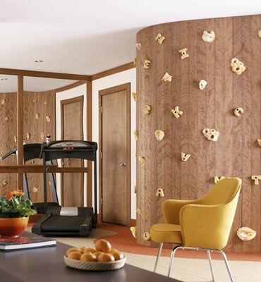 Great Low Profile Way To Integrate A Climbing Wall Into Your Living Space.  Love
