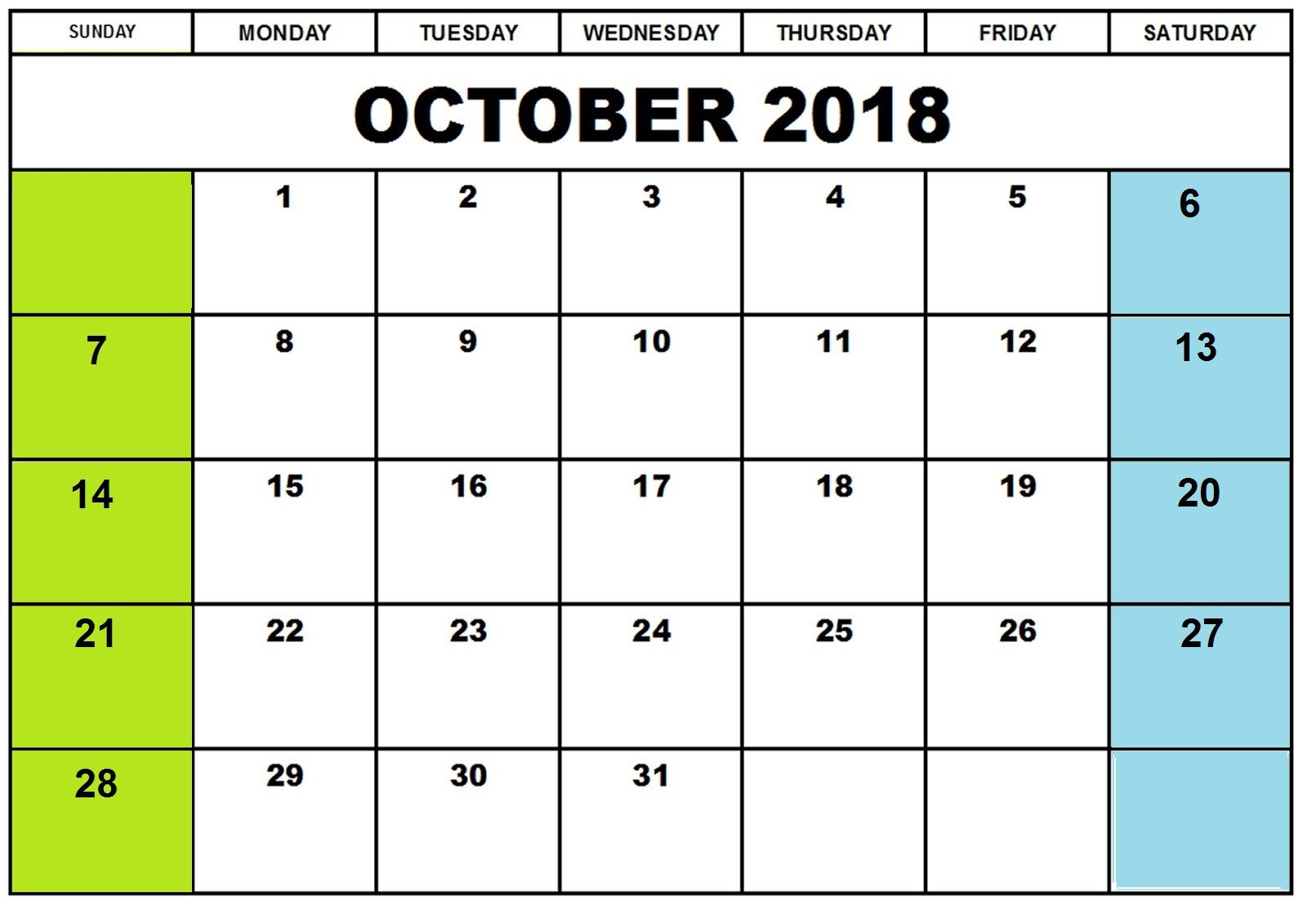 Free Calendar For October Printable Blank Templates