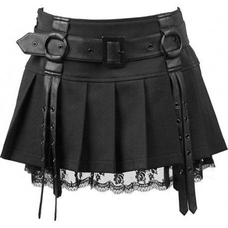 Punk Rave Ladies Gothic Rock Metal Tartan Top and Leather Look Skirt Dress