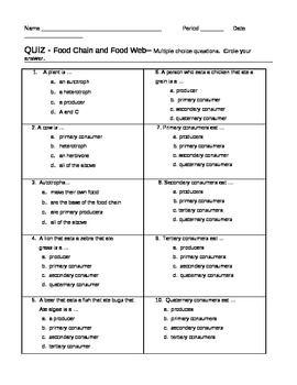 Quiz Food Chain Food Web Assessment   20 questions ...