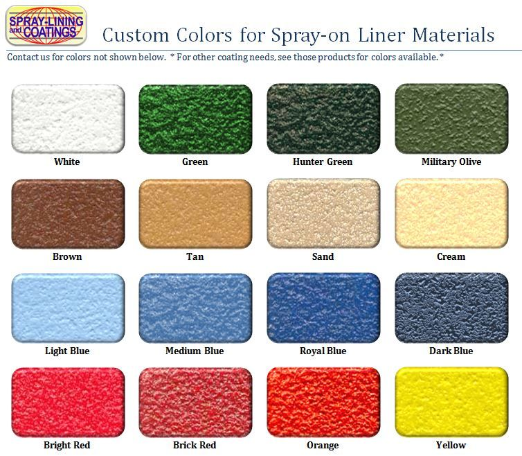 spraylining color chart Bed liner paint, Truck bed
