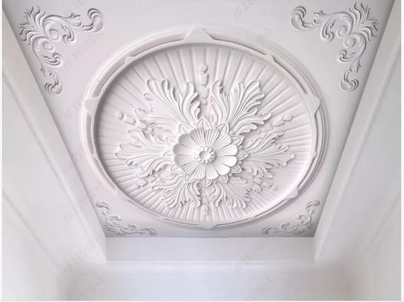 Hand Painted 3d Luxury Palace Style European Style Gypsum Carve Pattern Wallpaper White Carve Ceiling Wall Mural Custom Photo Wallpaper Cleaning Walls Peel And Stick Wallpaper