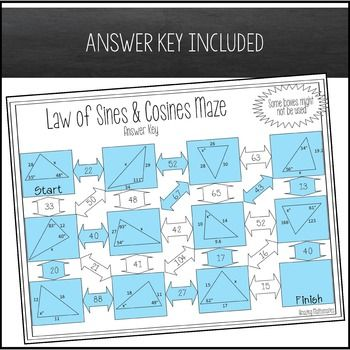 Law Of Sines And Law Of Cosines Maze Law Of Sines Similar Triangles Law Of Cosines Law of sines worksheet answers