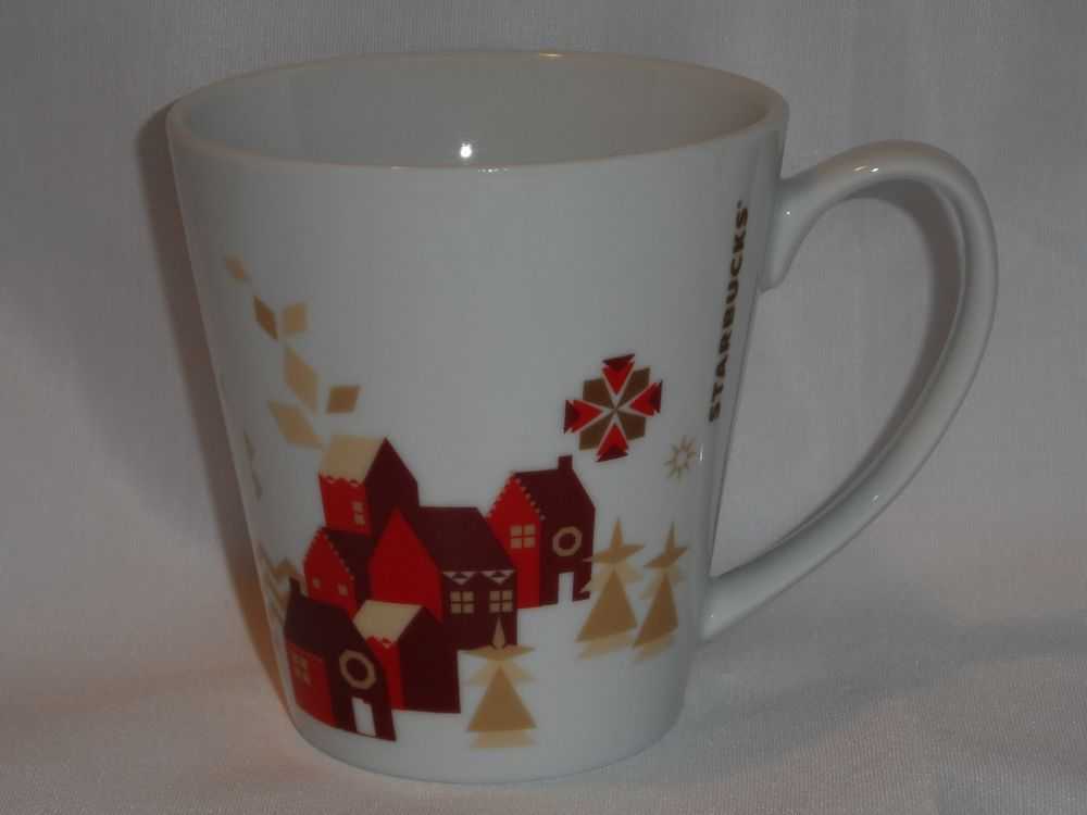 Starbucks Holiday Christmas Village Mug 2013 Red House Snowflake 11 oz Cup Glass