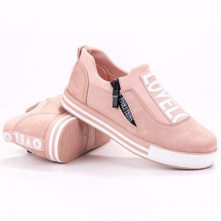 Shelovet Zamszowe Buty Sportowe Love Rozowe Shoes Tretorn Sneaker Sneakers