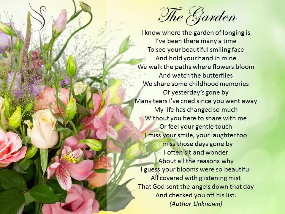 funeral poem the garden funeral poems for partner pinterest funeral poems funeral and poem