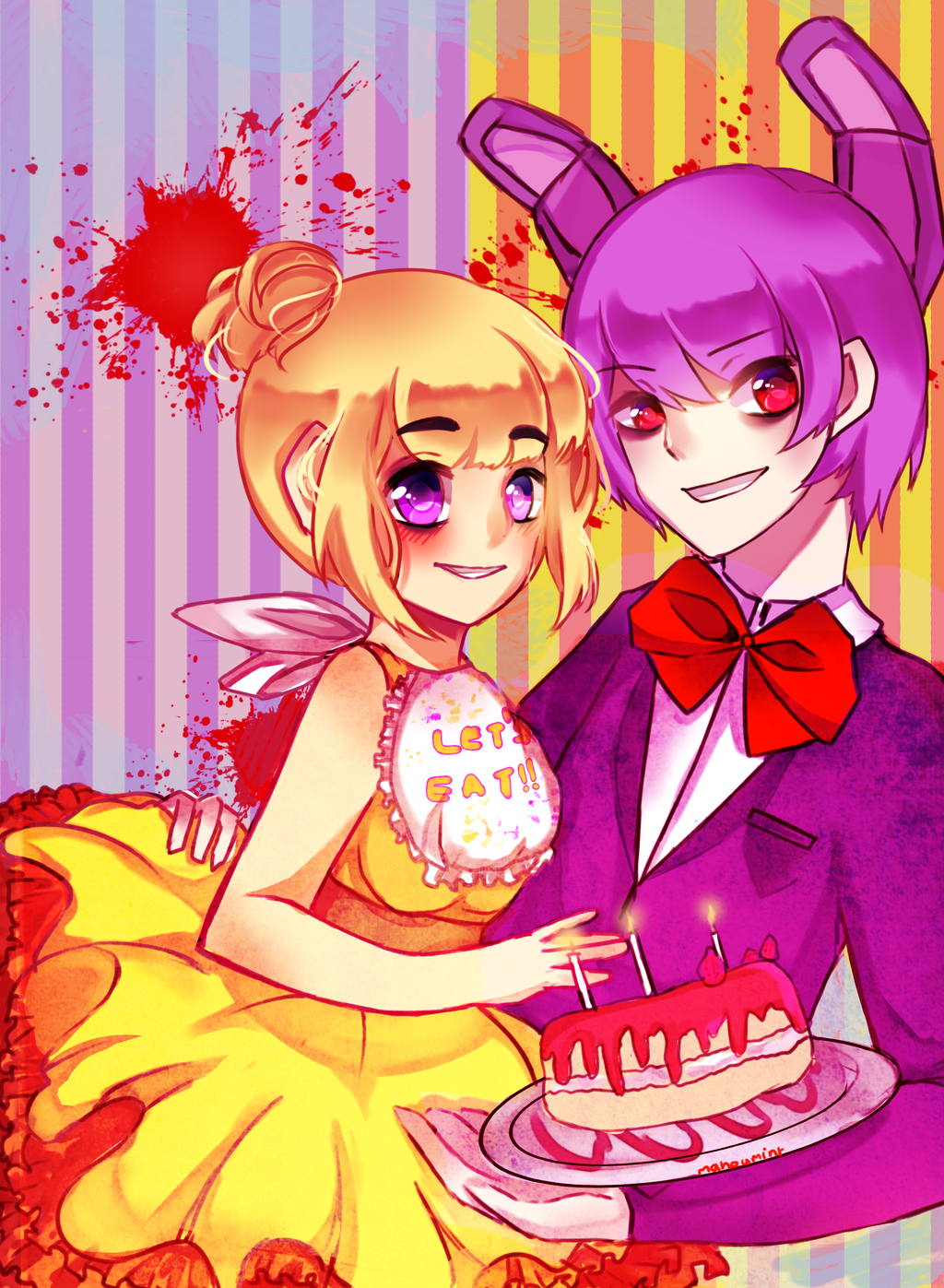 FNAF Chica and Bonnie. [speedpaint!] by Milkoes