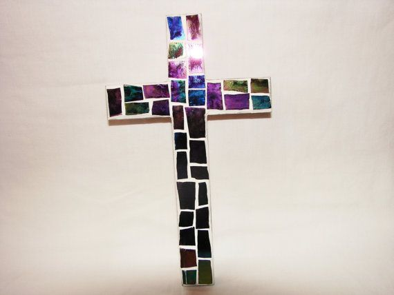 Handmade Mosaic tile CROSS Christian Religious Wall by Treasures81, $16.99