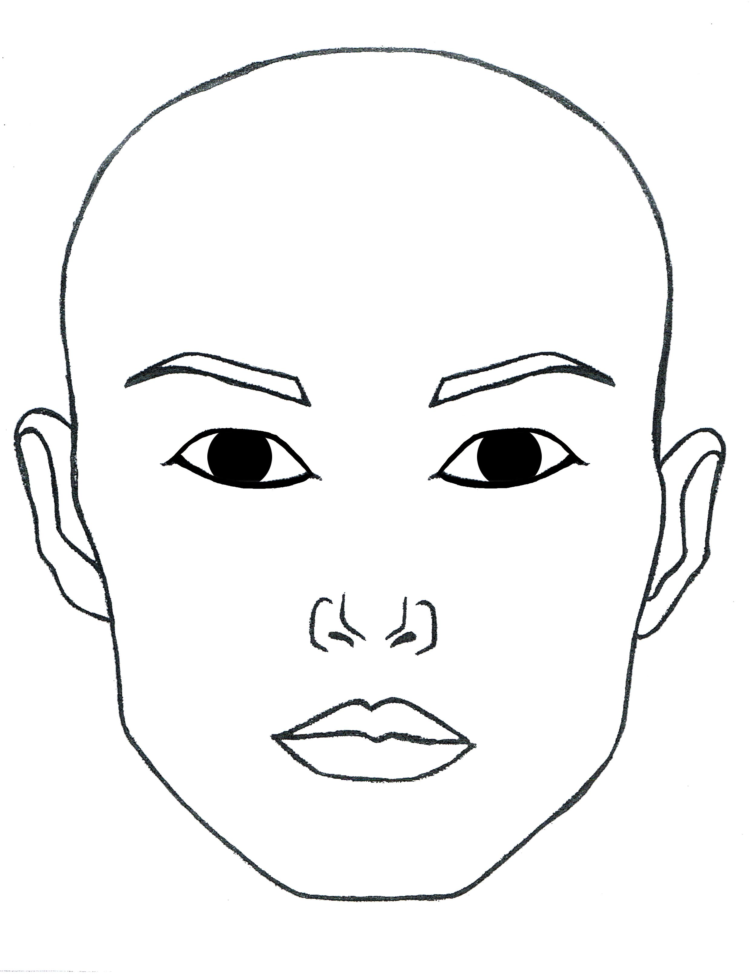 Blank Open Eyes Face To Print And Laminate Or Paint For