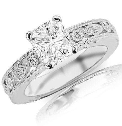 1.19 Carat Radiant Cut / Shape 14K White Gold Antique / Vintage Bezel Set Designer Diamond Engagement Ring ( J Color , SI2 Clarity )