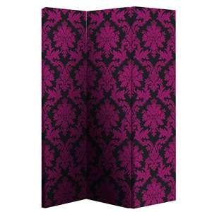 Black & Pink Damask Room Divider rapidhomedirect.com