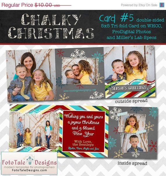 Christmas Chalky Christmas Card No 5 5x5 Tri Fold Photo Etsy Photo Card Template Christmas Cards Cards