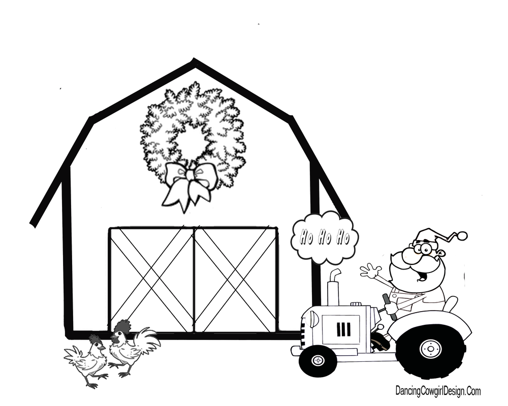 Santa On Tractor Coloring Page Christmas Colors Christmas Coloring Pages Santa Coloring Pages
