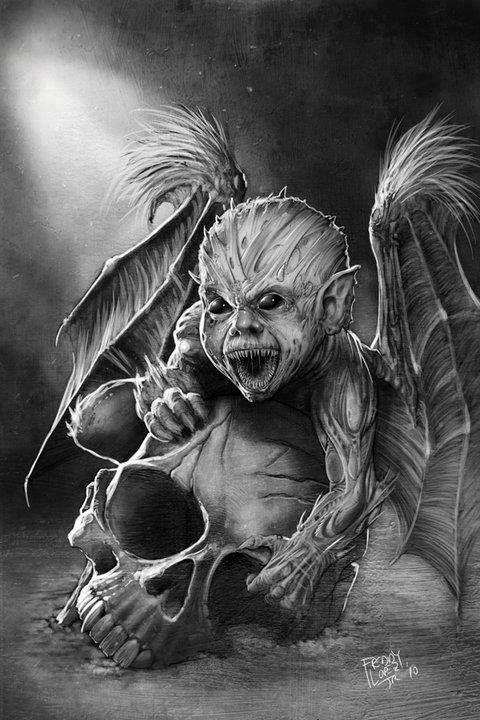 Baby Demon Tattoo : demon, tattoo, Lovecraft, Demon-Painted, ~GraphicGeek, Fantasy, Tattoos