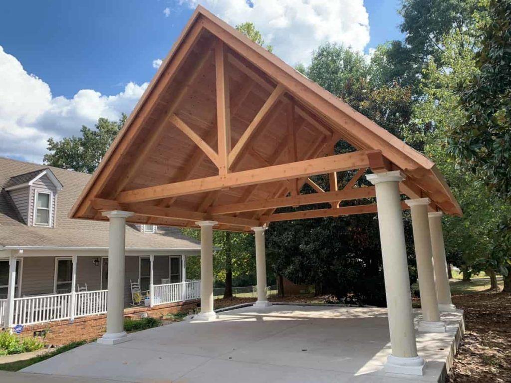 Timber Frame Carport With T G And Columns Timber Framing Carport Pergola Carport