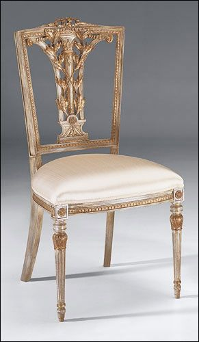 Hepplewhite style beechwood side chair with carved leaf motif, distressed white…