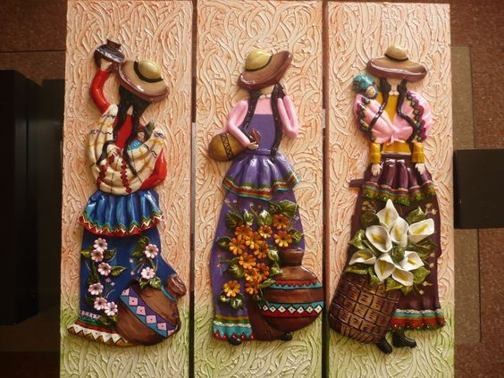 Resultado de imagen para cuadros andinos alto relieve for Pintura azul aguamarina