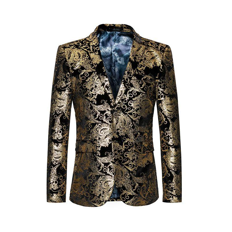 Vintage flower men blazer Slim fit Two buttons Wedding dress suit men Casual  Autumn mens floral blazer Spring 6b52f84c9e9c