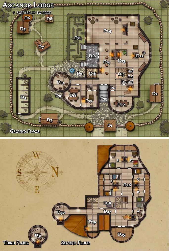 Ascanor Lodge Jpg Dungeon Maps Fantasy Map Pathfinder Maps
