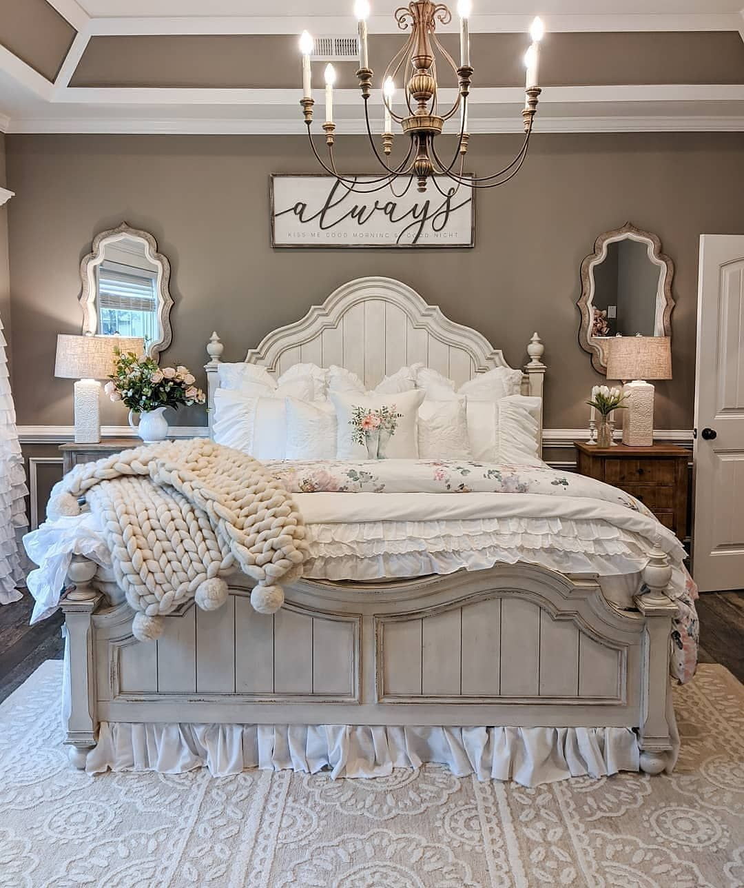 "Farmhouse Homes 🏡 on Instagram: ""How cozy and comfy does this bedroom look? 😍 We could lay in that bed all day! ❤️ TAG a friend who will love this room too! 👇…"""