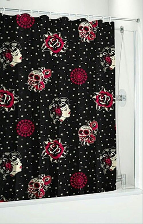 Skull Bathroom Decor: Sugar Skull Shower Curtain!
