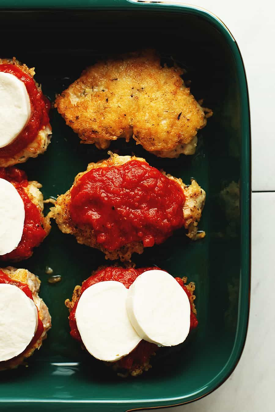 Keto chicken parmesan is a quick, easy, and delicious recipe to make for dinner. Thin chicken breas