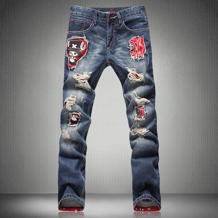 8f3eb716 Men's print jeans hole jeans male roll-up hem ripped jeans cartoon  personality applique denim pants Free shipping