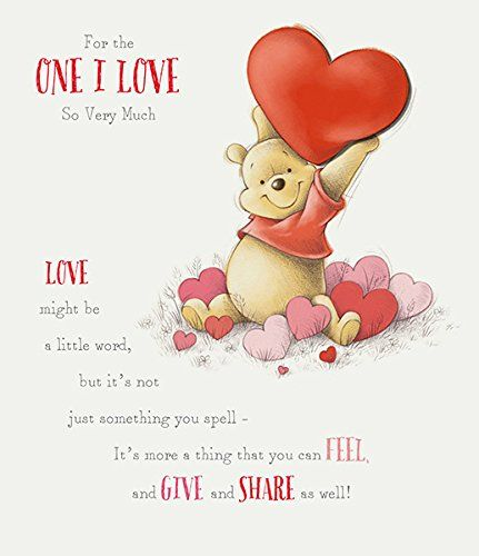 Disney Quotes For Christmas Cards: Disney Winnie The Pooh Valentine's Day Large Greeting Car