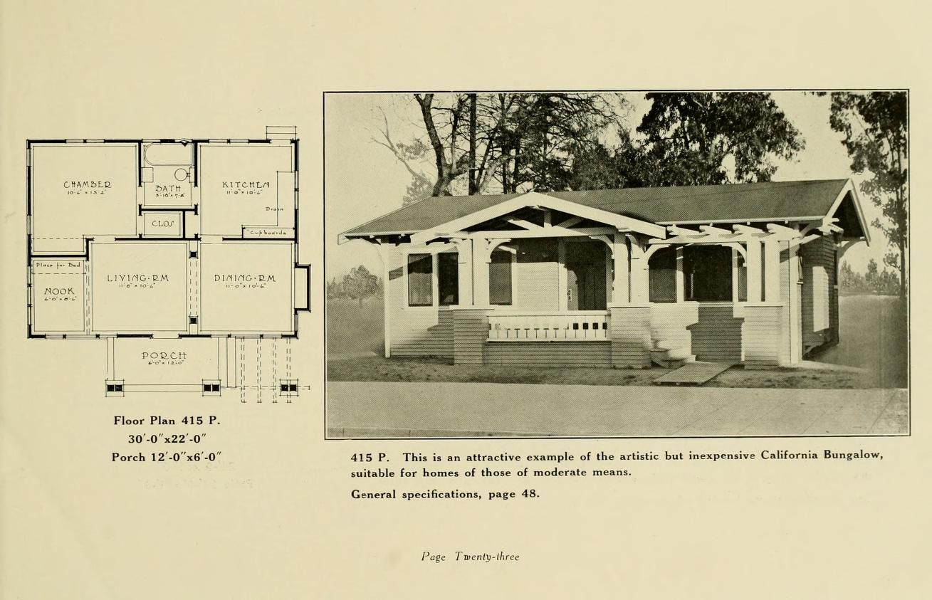 Blue Book Of Model California Bungalows Known The World Over The 1920 Ca California Bungalow Cottage House Plans Beach Cottage Style