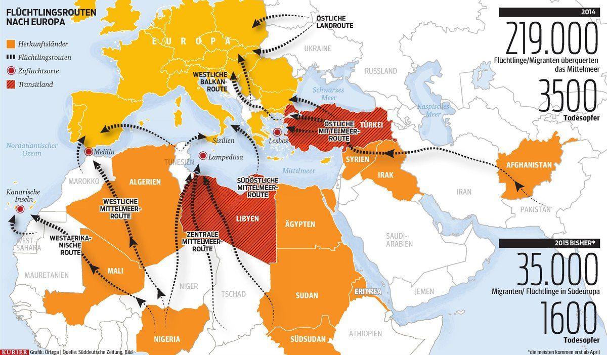 Fluchtlingsrouten Nach Europa Http Kurier At Politik Mit