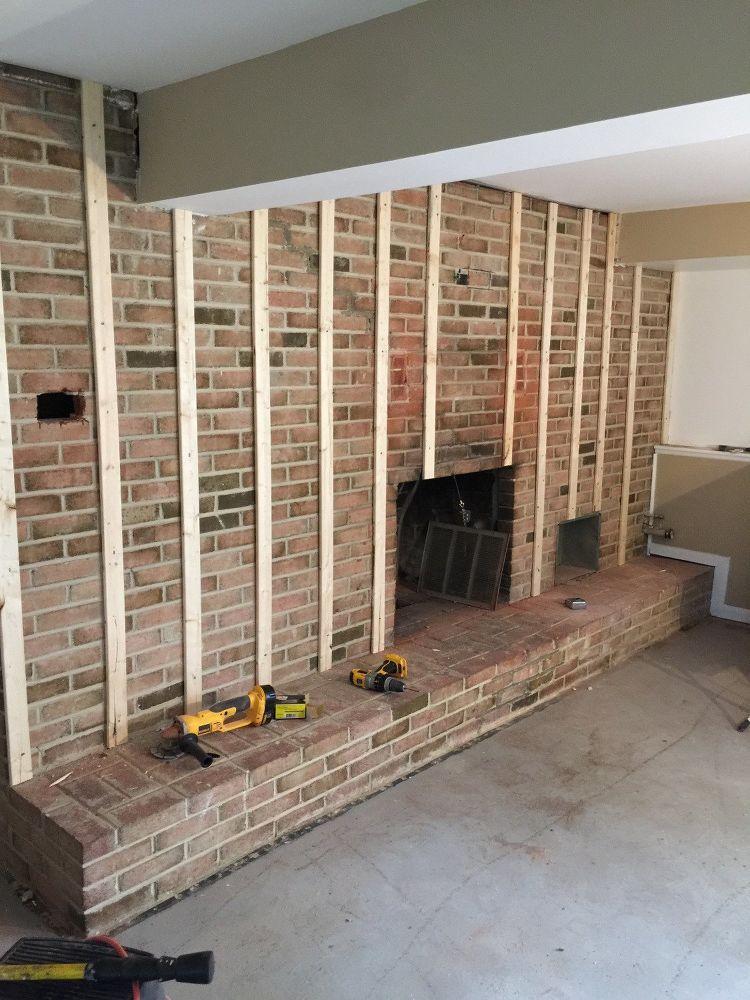 Diy brick fireplace transformation brick fireplace