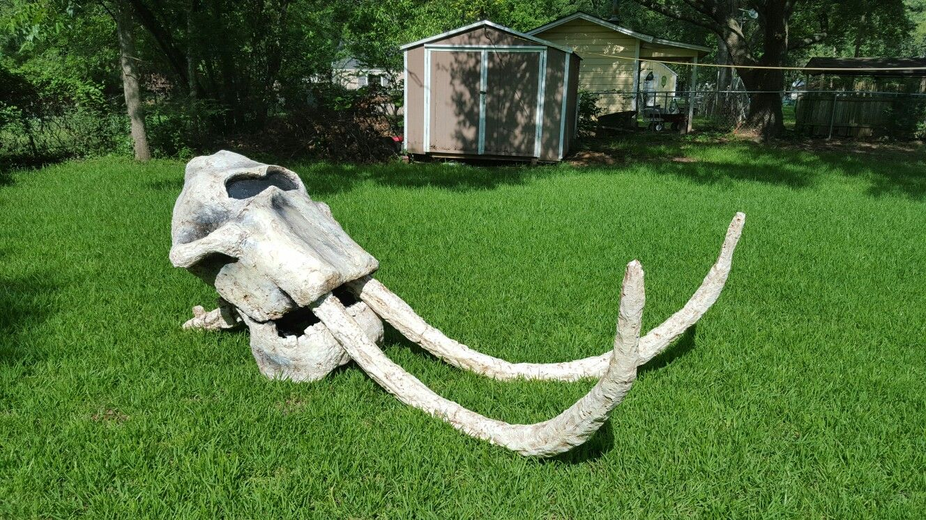 Elephant skull made out of 2x4s, trash can, great stuff