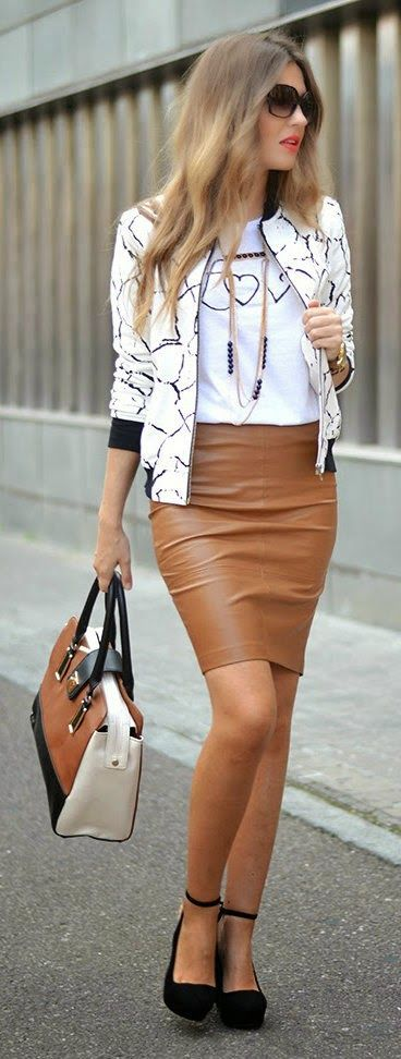 Camel leather Mini Skirt with accessories and classical black ...