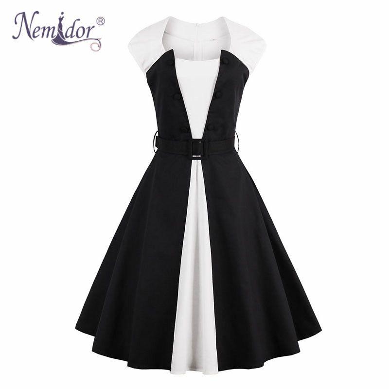 Aliexpress.com   Buy Nemidor Women Elegant Hepburn Style Sleeveless ... 907d8b90a679