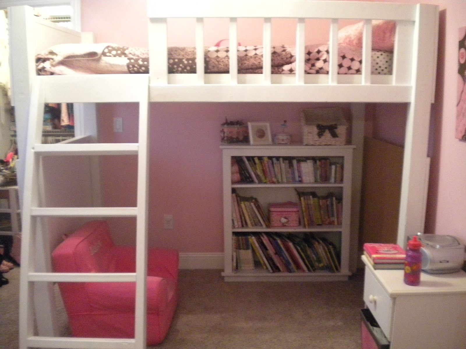 Loft Bed With Reading Nook Team Chase 4 And Counting The Loft Bed Loft Bed Girls Loft Bed Kids Bunk Beds