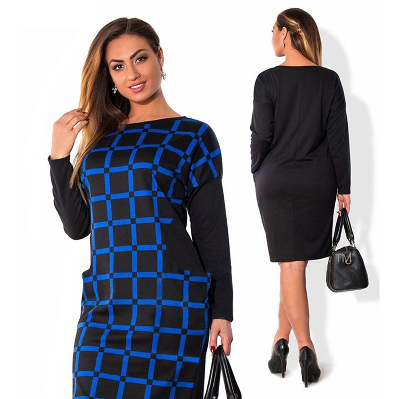 Long Sleeve Lattice Spring Dress Big Sizes New Women Plus Size Knee-Length Dress Elegant Party Dress Fat MM Vestidos L-6XL #Affiliate