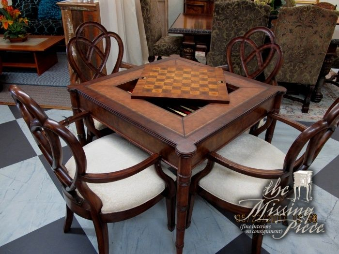 Ethan Allen Game Table With Four 4 Circle Back Chairs In A Mahogany Stain Measures 37 37 30