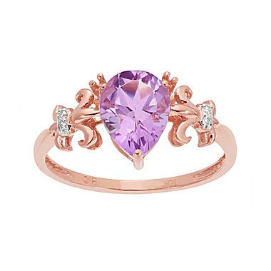 Jcp Genuine Amethyst And Diamond Accent 10k Rose Gold Filigree Ring Bague