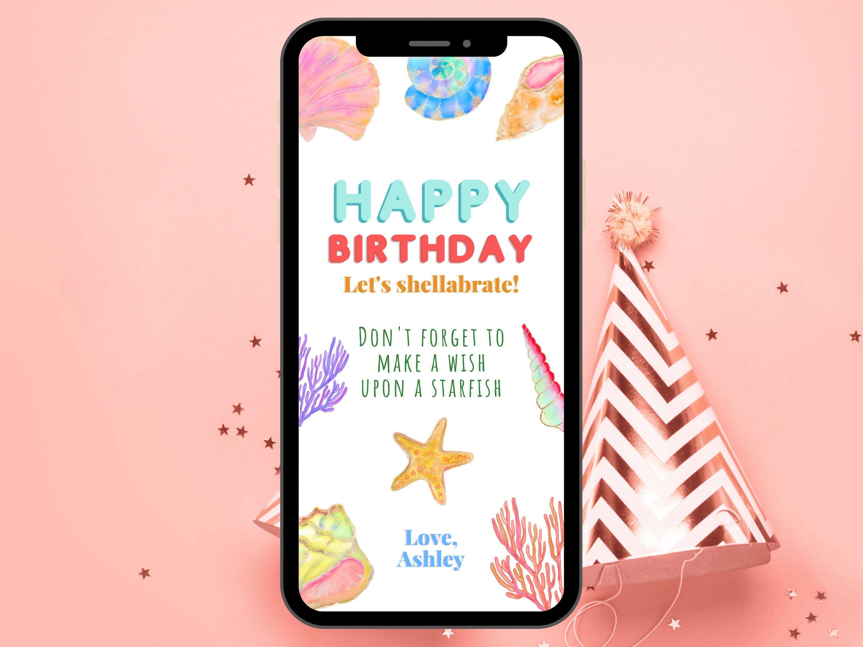 Personalized Fun Virtual Birthday Wish Electronic Editable Birthday Greeting Seashell Virtual Birthday Cards Virtual Christmas Card Electronic Christmas Card